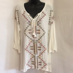 Size S & M POL White Aztec Design Top Embroidered